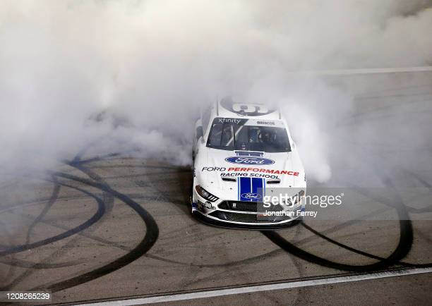 Chase Briscoe driver of the Ford Performance Racing School Ford celebrates his victory during the NASCAR Xfinity Series Boyd Gaming 300 at Las Vegas...