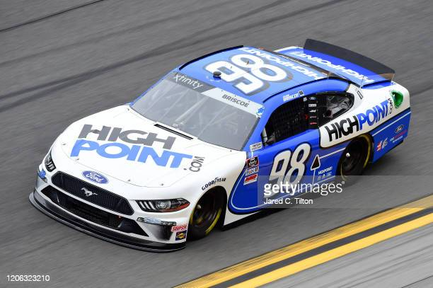 Chase Briscoe driver of the Highpointcom Ford practices for the NASCAR Xfinity Series NASCAR Racing Experience 300 at Daytona International Speedway...