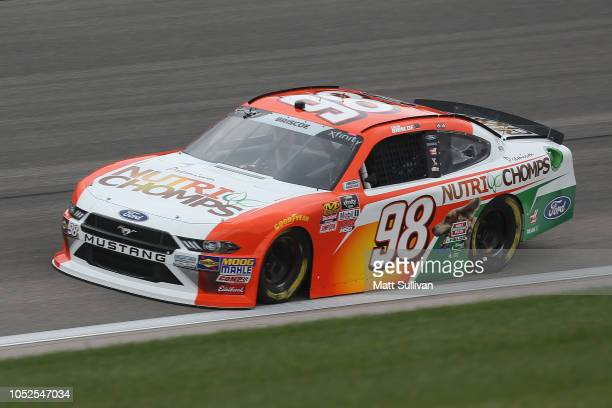 Chase Briscoe driver of the Nutri Chomps Ford practices for the NASCAR Xfinity Series Kansas Lottery 300 at Kansas Speedway on October 19 2018 in...