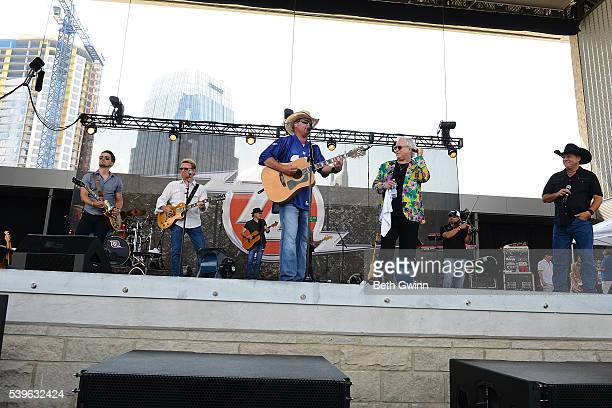 Chase Bryant Lee Roy Parnell Tracy Lawrence T Graham Brown and John Michael Montgomery perform on the Honky Tonkin with Tracy Lawrence show during...