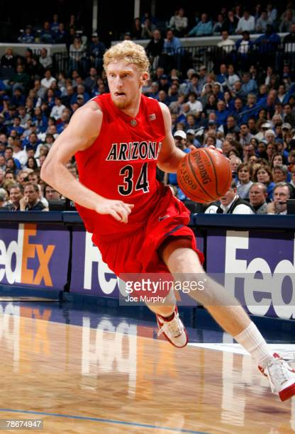 Chase Budinger of the Arinzona Wildcats drives down the court in a game against the Memphis Tigers at FedExForum December 29, 2007 in Memphis,...