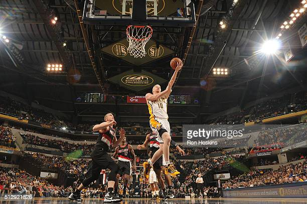 Chase Budinger of the Indiana Pacers shoots a layup against the Portland Trail Blazers on February 28 2016 at Bankers Life Fieldhouse in Indianapolis...