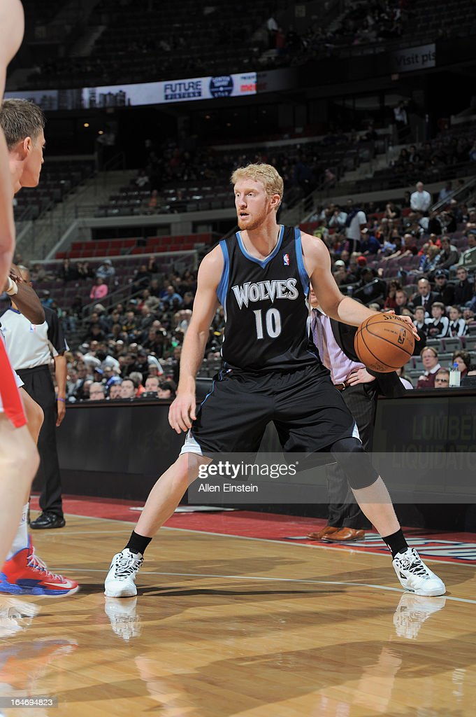 Chase Budinger #10 of the Minnesota Timberwolves dribbles the ball against the Detroit Pistons during the game on March 26, 2013 at The Palace of Auburn Hills in Auburn Hills, Michigan.