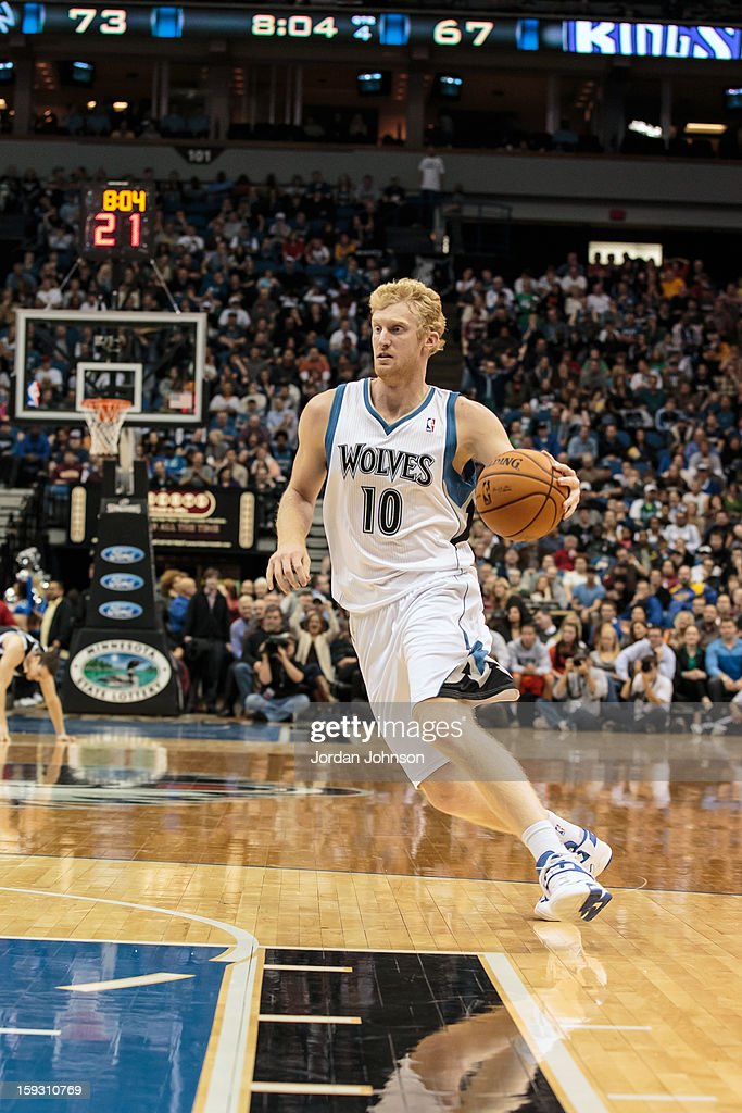 Chase Budinger #10 of the Minnesota Timberwolves handles the ball against the Sacramento Kings during the season opening game on November 2, 2012 at Target Center in Minneapolis, Minnesota.