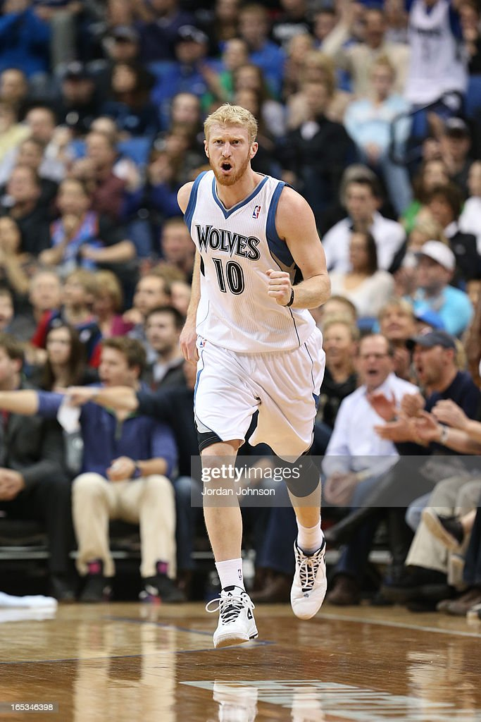 Chase Budinger #10 of the Minnesota Timberwolves runs up court against the Oklahoma City Thunder on March 29, 2013 at Target Center in Minneapolis, Minnesota.