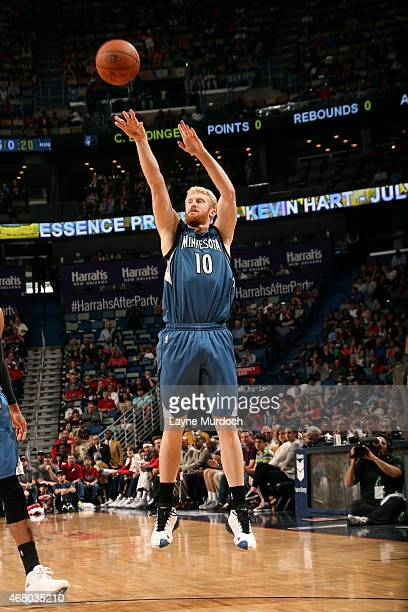 Chase Budinger of the Minnesota Timberwolves shoots against the New Orleans Pelicans on March 29 2015 at Smoothie King Center in New Orleans...