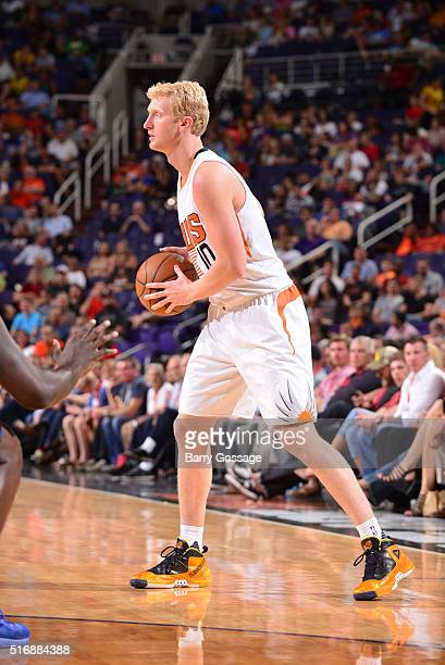 Chase Budinger of the Phoenix Suns defends the ball against the Memphis Grizzlies during the game on March 21 2016 at Talking Stick Resort Arena in...