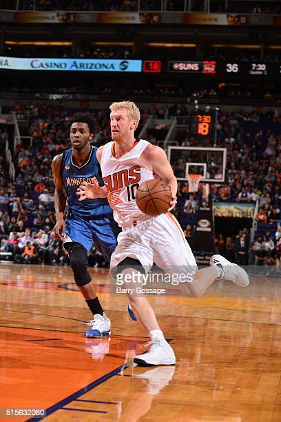 Chase Budinger of the Phoenix Suns drives to the basket against the Minnesota Timberwolves on March 14 2016 at Talking Stick Resort Arena in Phoenix...