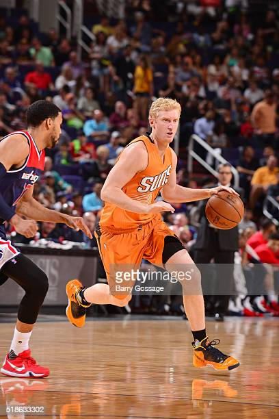 Chase Budinger of the Phoenix Suns handles the ball against the Washington Wizards on April 1 2016 at Talking Stick Resort Arena in Phoenix Arizona...