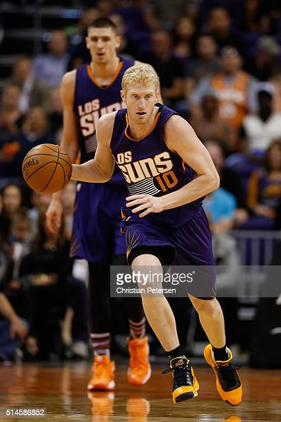Chase Budinger of the Phoenix Suns hanldes the ball during the second half of the NBA game against the New York Knicks at Talking Stick Resort Arena...
