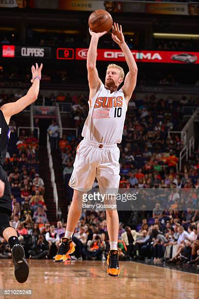 Chase Budinger of the Phoenix Suns shoots against the Los Angeles Clippers on April 13 2016 at Talking Stick Resort Arena in Phoenix Arizona NOTE TO...