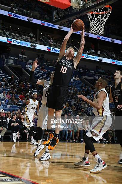Chase Budinger of the Phoenix Suns shoots the ball against the New Orleans Pelicans on April 9 2016 at the Smoothie King Center in New Orleans...