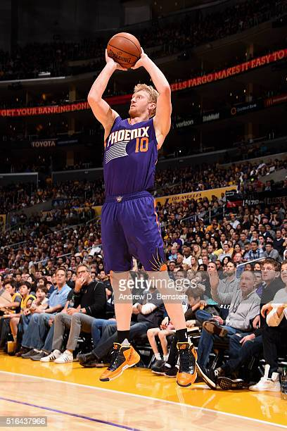 Chase Budinger of the Phoenix Suns shoots the ball during the game against the Los Angeles Lakers on March 18 2016 at STAPLES Center in Los Angeles...
