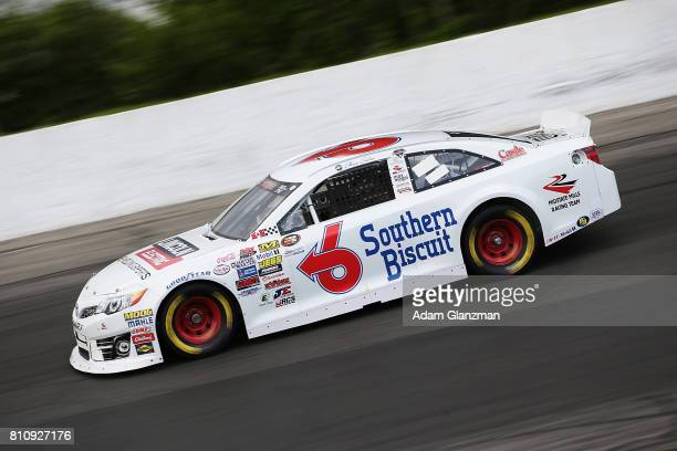 Chase Cabre driver of the Max Siegel Inc Toyota on the track during qualifying for the NASCAR KN Pro Series East at Thompson Speedway Motorsports...
