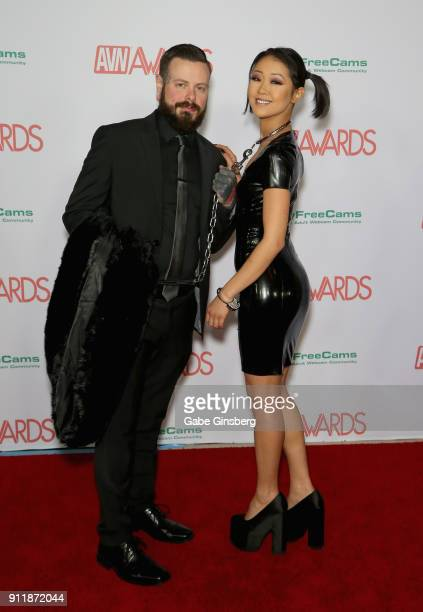 Chase Campbell and adult film actress Saya Song attend the 2018 Adult Video News Awards at the Hard Rock Hotel Casino on January 27 2018 in Las Vegas...