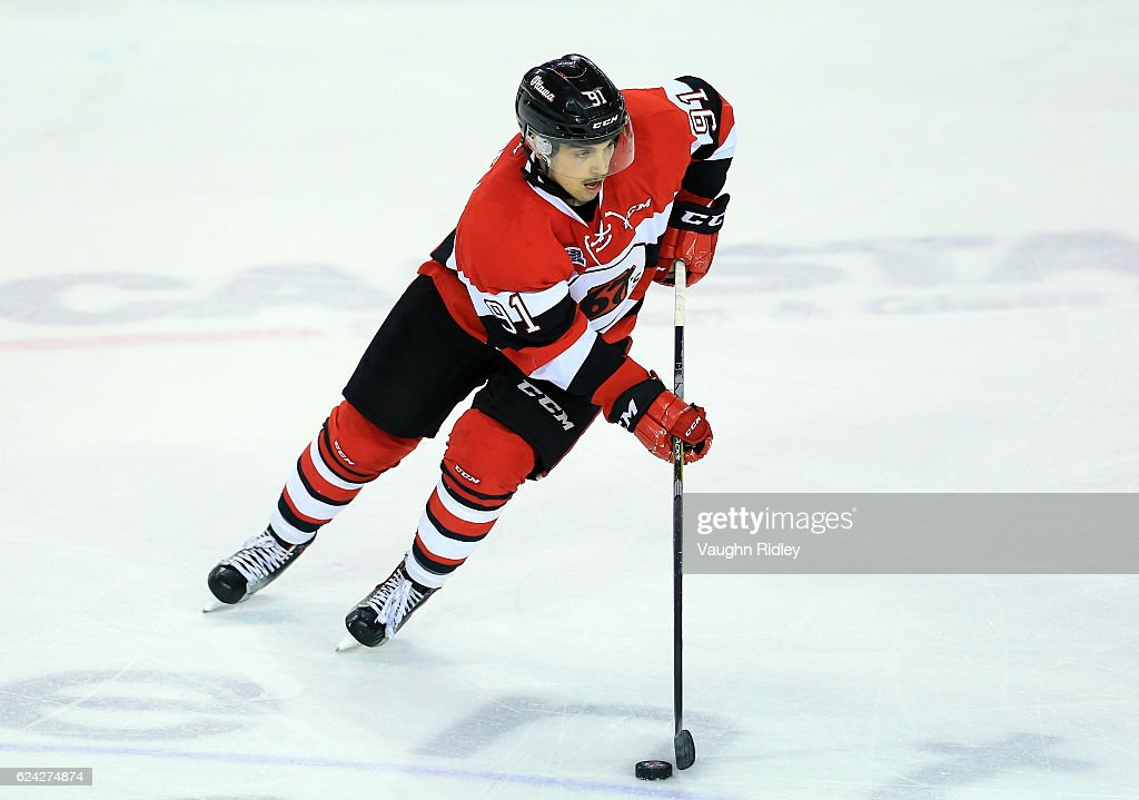 Chase Campbell #91 of the Ottawa 67's skates during the first period of an OHL game against the Niagara IceDogs at the Meridian Centre on November 18, 2016 in St Catharines, Canada.