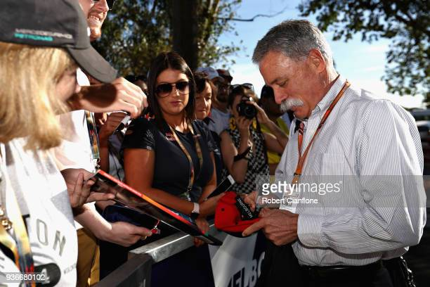 Chase Carey CEO and Executive Chairman of the Formula One Group arrives at the circuit and signs autographs for fans before practice for the...