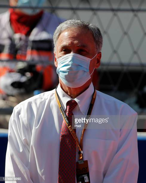 Chase Carey CEO and Executive Chairman of the Formula One Group looks on before the F1 Grand Prix of Russia at Sochi Autodrom on September 27 2020 in...