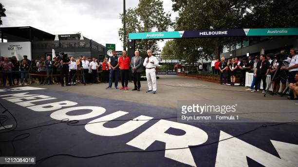 Chase Carey CEO and Executive Chairman of the Formula One Group talks as a press conference is held outside the paddock after for the F1 Grand Prix...