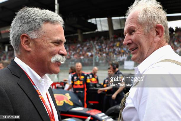 Chase Carey CEO and Executive Chairman of the Formula One Group talks with Red Bull Racing Team Consultant Dr Helmut Marko on the grid before the...