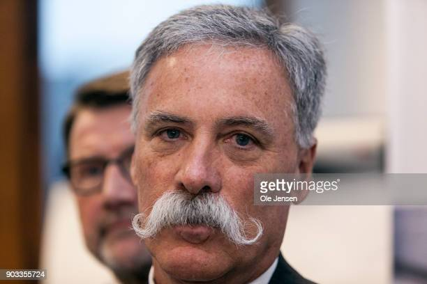 Chase Carey chief executive officer and executive chairman of the Formula One Group during at a press meeting at the Ministry of Economic and...