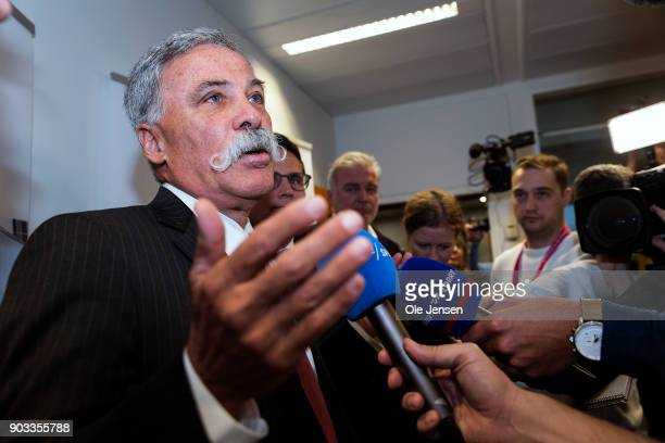 Chase Carey chief executive officer and executive chairman of the Formula One Group speaks at a press meeting at the Ministry of Economic and...