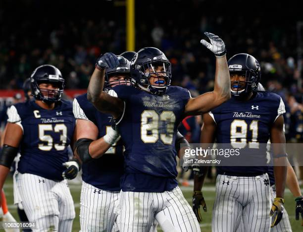Chase Claypool of the Notre Dame Fighting Irish celebrates a touchdown as against the Syracuse Orange during their game at Yankee Stadium on November...