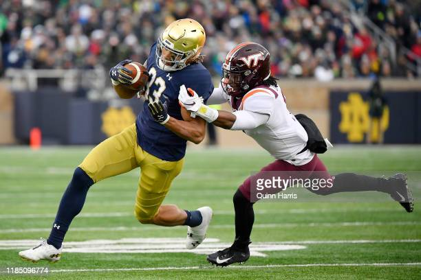 Chase Claypool of the Notre Dame Fighting Irish runs with the football in the first half against the Virginia Tech Hokies at Notre Dame Stadium on...