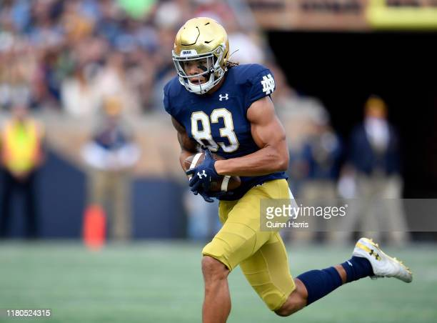 Chase Claypool of the Notre Dame Fighting Irish runs with the football against the Bowling Green Falcons at Notre Dame Stadium on October 05 2019 in...