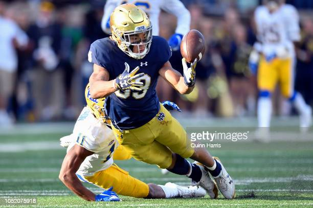 Chase Claypool of the Notre Dame Fighting Irish tries make the catch after the pass interference on Dane Jackson of the Pittsburgh Panthers in the...
