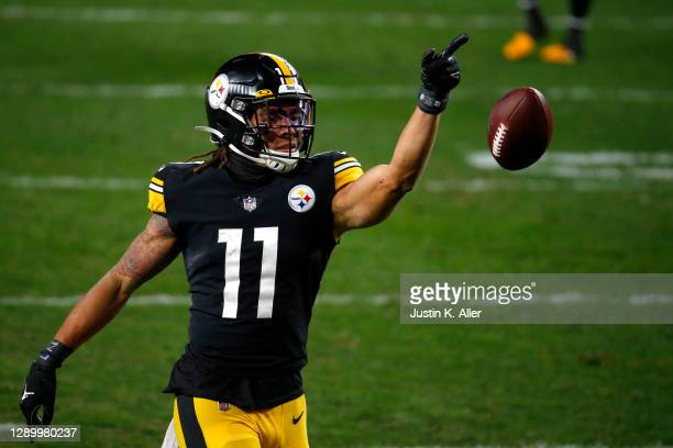 Chase Claypool of the Pittsburgh Steelers reacts following a play during the second quarter of their game against the Washington Football Team at...