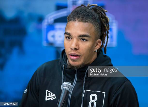 Chase Claypool #WO08 of the Notre Dame Fighting Irish speaks to the media at the Indiana Convention Center on February 25 2020 in Indianapolis...