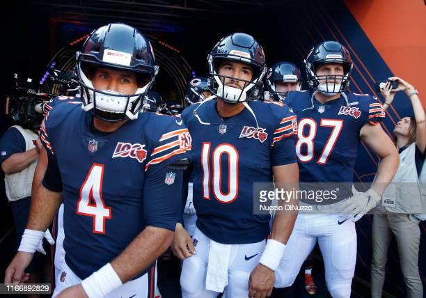 Chase Daniel, Mitchell Trubisky and Adam Shaheen of the Chicago Bears look on prior to a preseason game against the Carolina Panthers at Soldier...
