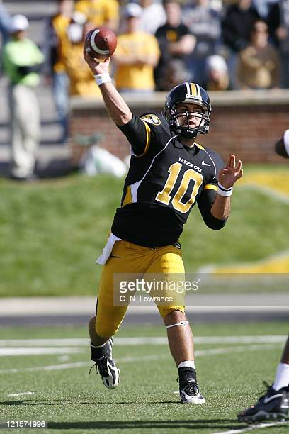 Chase Daniel of Missouri attempts a pass during action between the Oklahoma Sooners and the Missouri Tigers at Faurot Field in Columbia Missouri on...