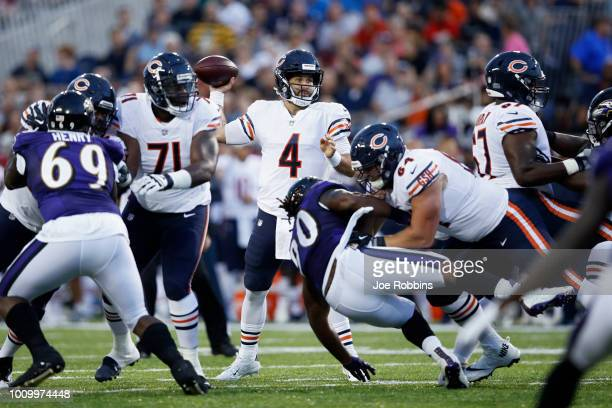 Chase Daniel of the Chicago Bears looks to pass in the first quarter of the Hall of Fame Game against the Baltimore Ravens at Tom Benson Hall of Fame...