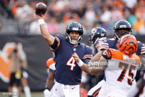 Chase Daniel of the Chicago Bears throws a pass against the Cincinnati Bengals in the first quarter of a preseason game at Paul Brown Stadium on...