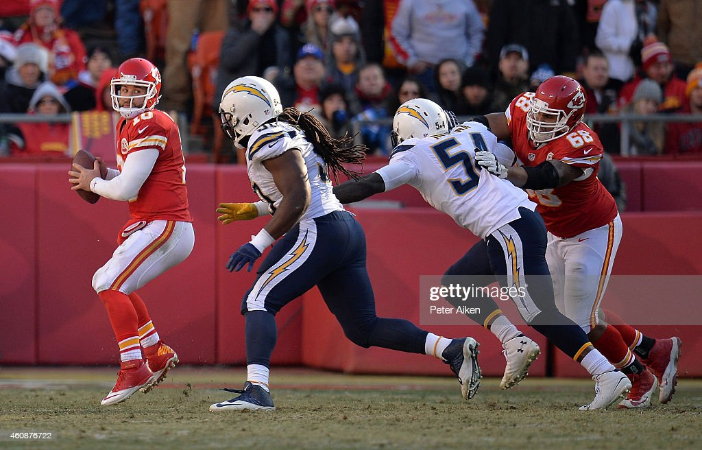 Chase Daniel #10 of the Kansas City Chiefs looks to pass against the San Diego Chargers defense during the game at Arrowhead Stadium on December 28, 2014 in Kansas City, Missouri.