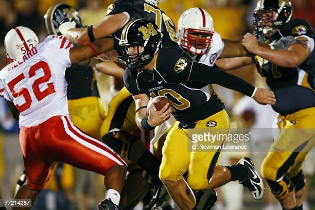 Chase Daniel of the Missouri Tigers scores on a 1 yard run against the Nebraska Cornhuskers during 1stquarter action on October 6 2007 at Faurot...
