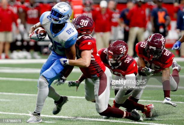 Chase Dutra of San Antonio Commanders tackles Nick Truesdell of Salt Lake Stallions during the fourth quarter of the Alliance of American Football...