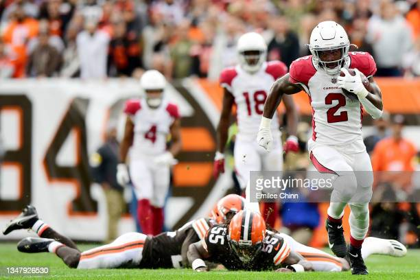 Chase Edmonds of the Arizona Cardinals runs the ball during a game against the Cleveland Browns at FirstEnergy Stadium on October 17, 2021 in...