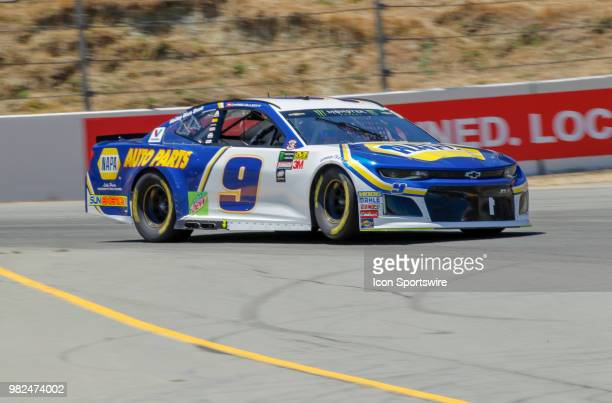 Chase Elliot powers out of Turn 4 on his qualifying run for the Monster Energy NASCAR Cup Series Toyota/Save Mart 350 on June 23 2018 at Sonoma...