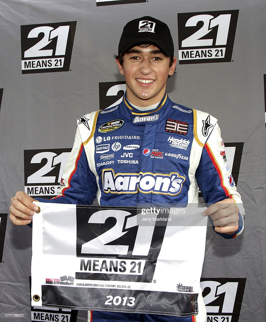 Chase Elliott, driver of the #94 Aaron's Dream Machine/Hendrickcars.com celebrates winning the pole for the NASCAR Camping World Truck Series UNOH 200 at Bristol Motor Speedway on August 21, 2013 in Bristol, Tennessee.