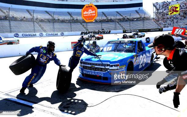 Chase Elliott driver of the Allegiant Airlines/NAPA Chevrolet pits during the NASCAR Camping World Truck Series Alpha Energy Solutions 250 at...