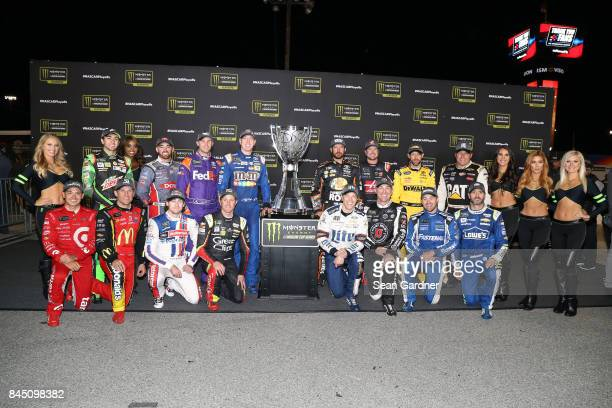 Chase Elliott driver of the Mountain Dew Chevrolet Austin Dillon driver of the DOW Chevrolet Denny Hamlin driver of the FedEx Express Toyota Kyle...