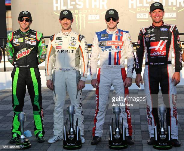 Chase Elliott driver of the Mountain Dew Chevrolet Daniel Suarez driver of the ARRIS Toyota Ryan Blaney driver of the Motorcraft/Quick Lane Tire Auto...