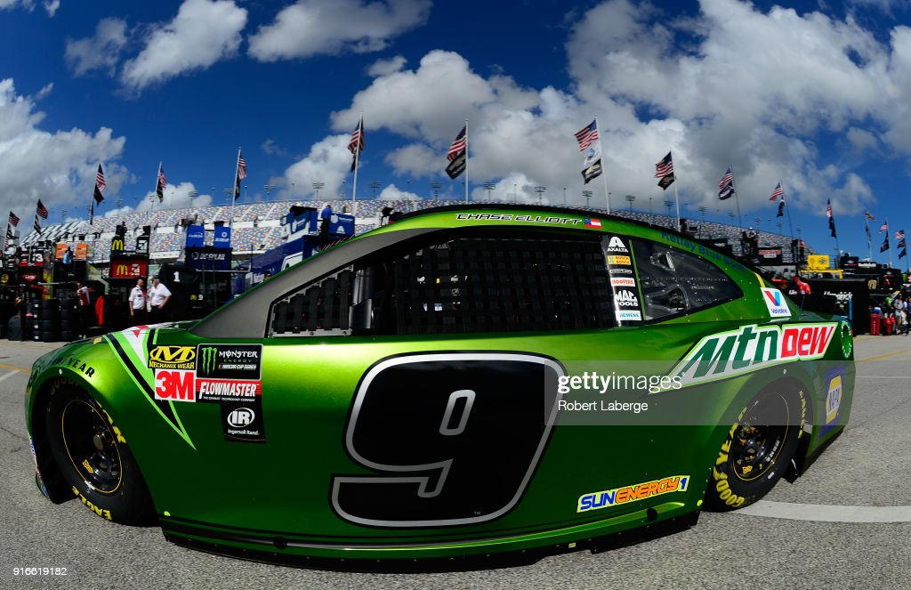 Chase Elliott, driver of the #9 Mountain Dew Chevrolet, drives through the garage during practice for the Monster Energy NASCAR Cup Series Advance Auto Parts Clash at Daytona International Speedway on February 10, 2018 in Daytona Beach, Florida.