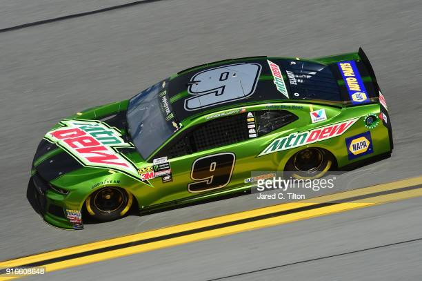 Chase Elliott driver of the Mountain Dew Chevrolet practices for the Monster Energy NASCAR Cup Series Advance Auto Parts Clash at Daytona...