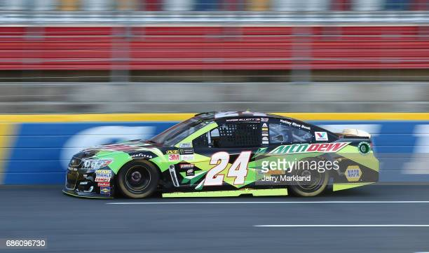 Chase Elliott driver of the Mountain Dew Chevrolet races during the Monster Energy NASCAR Open at Charlotte Motor Speedway on May 20 2017 in...