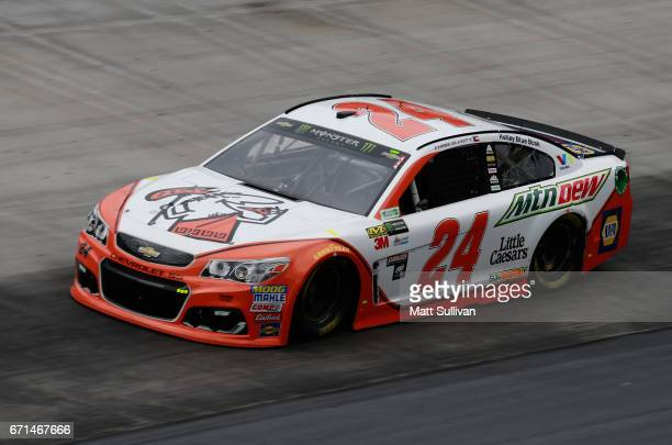 Chase Elliott driver of the Mountain Dew/Little Caesars Chevrolet practices for the Monster Energy NASCAR Cup Series Food City 500 at Bristol Motor...
