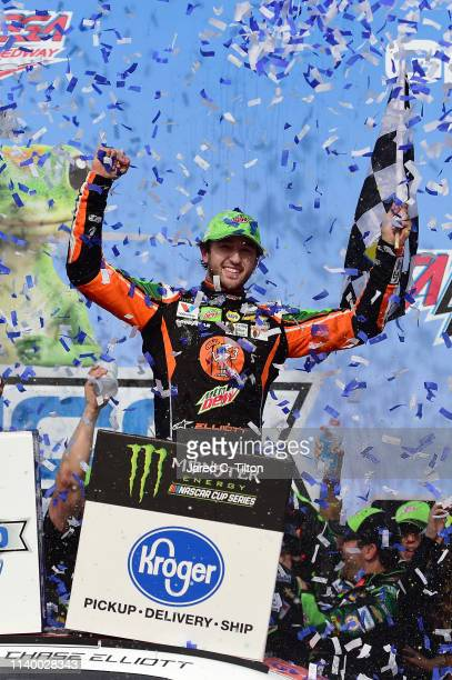Chase Elliott driver of the Mountain Dew/Little Caesar's Chevrolet celebrates in Victory Lane after winning the Monster Energy NASCAR Cup Series...